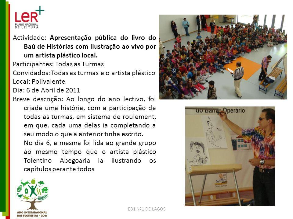 Actividade: Apresentação pública do livro do Baú de Histórias com ilustração ao vivo por um artista plástico local.