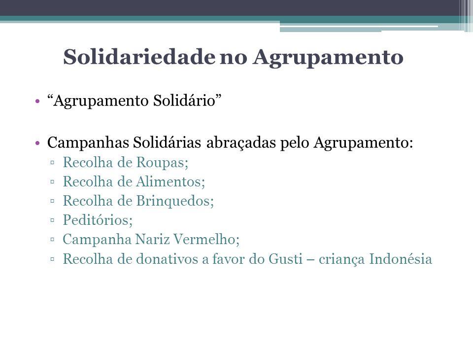 Solidariedade no Agrupamento Agrupamento Solidário Campanhas Solidárias abraçadas pelo Agrupamento: Recolha de Roupas; Recolha de Alimentos; Recolha d