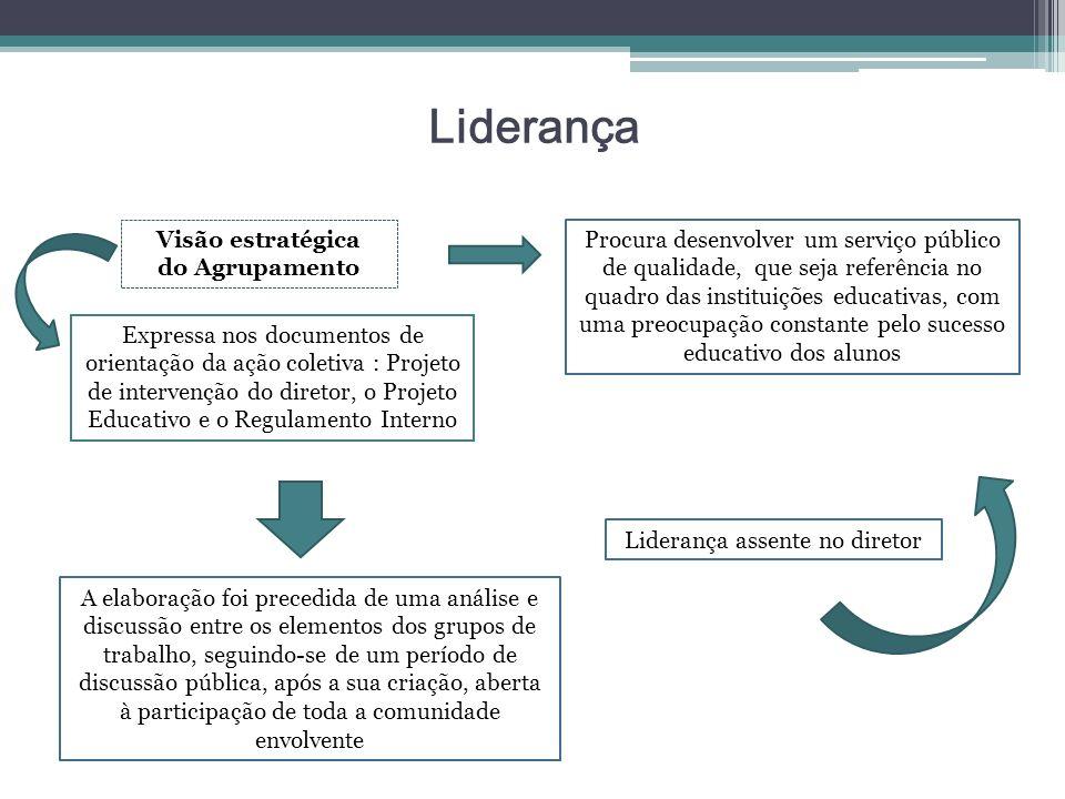 Liderança Visão estratégica do Agrupamento Expressa nos documentos de orientação da ação coletiva : Projeto de intervenção do diretor, o Projeto Educa