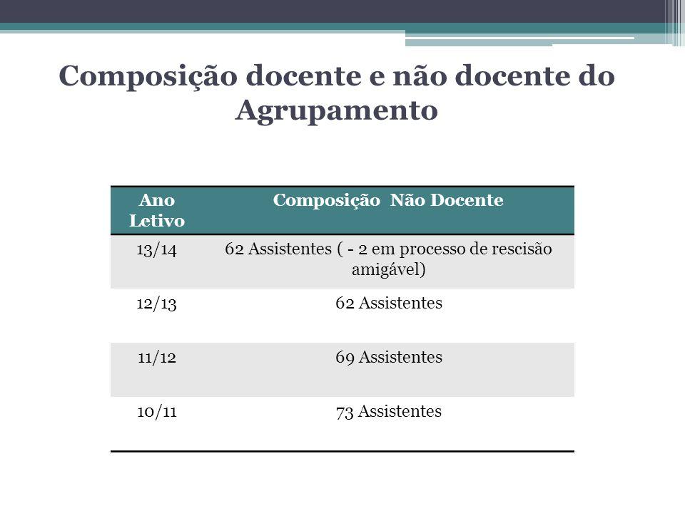 Ano Letivo Composição Não Docente 13/1462 Assistentes ( - 2 em processo de rescisão amigável) 12/1362 Assistentes 11/1269 Assistentes 10/1173 Assisten