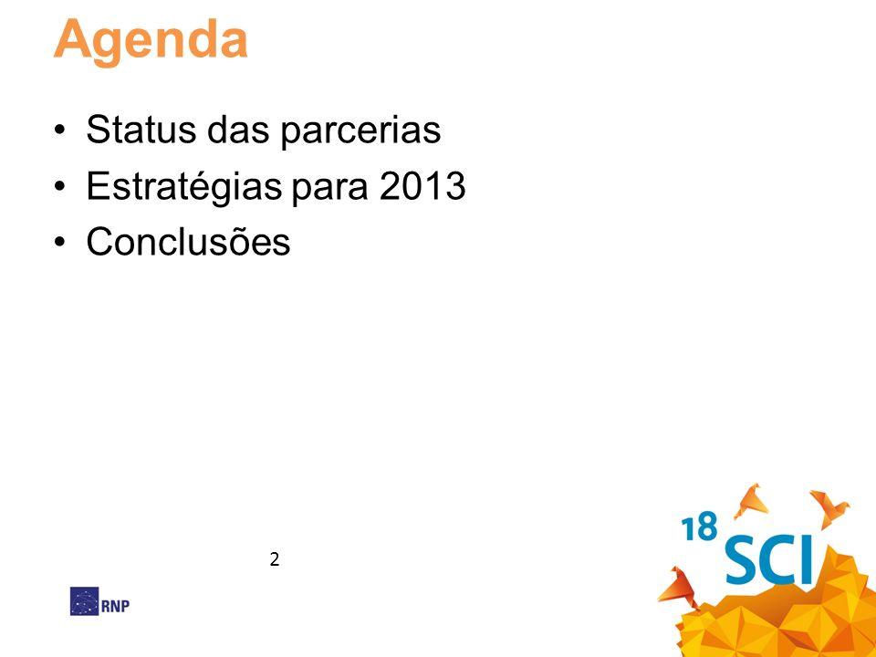Agenda Status das parcerias Estratégias para 2013 Conclusões 2