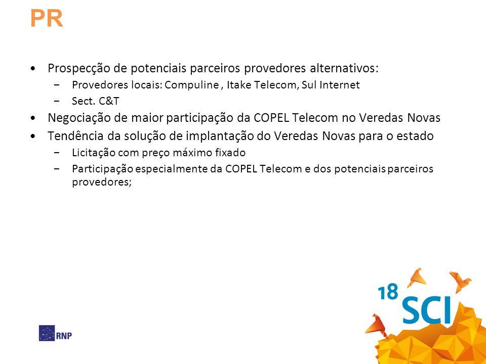 PR Prospecção de potenciais parceiros provedores alternativos: Provedores locais: Compuline, Itake Telecom, Sul Internet Sect.