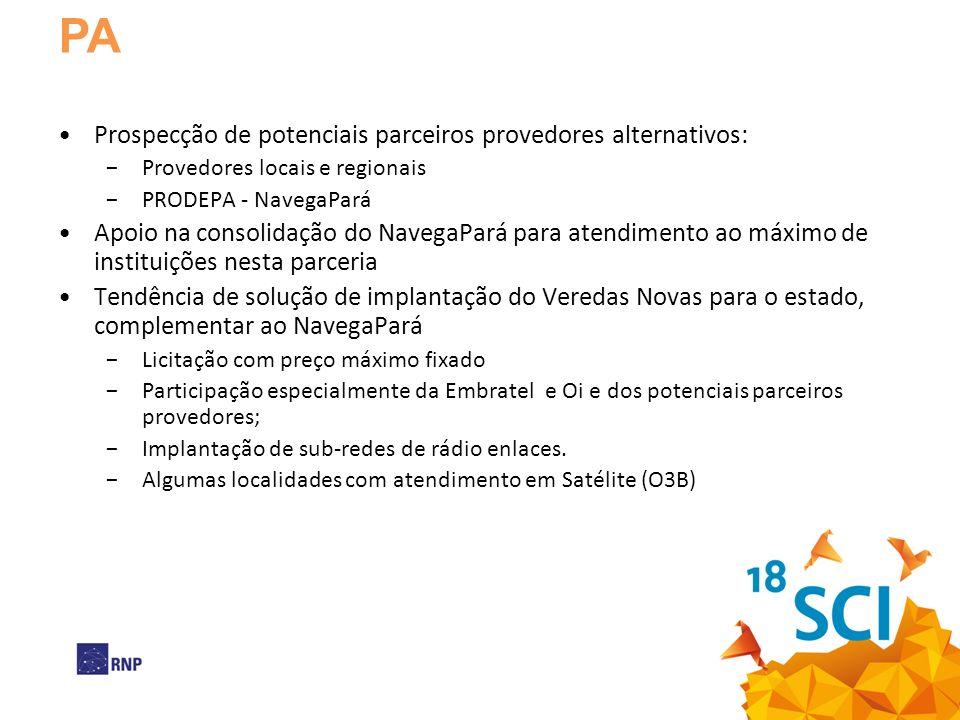 PA Prospecção de potenciais parceiros provedores alternativos: Provedores locais e regionais PRODEPA - NavegaPará Apoio na consolidação do NavegaPará