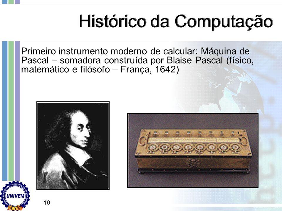 Régua de Cálculo - o primeiro computador analógico http://www.geocities.com/SiliconValley/Haven/8692/comput.htm Histórico da Computação