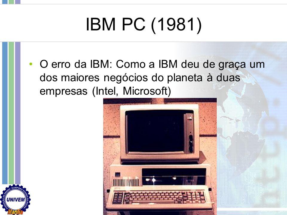 A década de 80 No Brasil – Reserva de Mercado Alguns clones nacionais CP500 (TRS-80) CP400 (TRS80 Color) TK90X (ZX Spectrum) Hotbit (MSX)