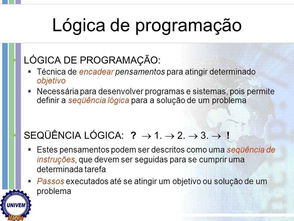 Programação de Computadores Linguagens de alto nível Próximo a linguagem humana Conjunto de símbolos reduzidos Possui uma gramática própria Exemplo Ja