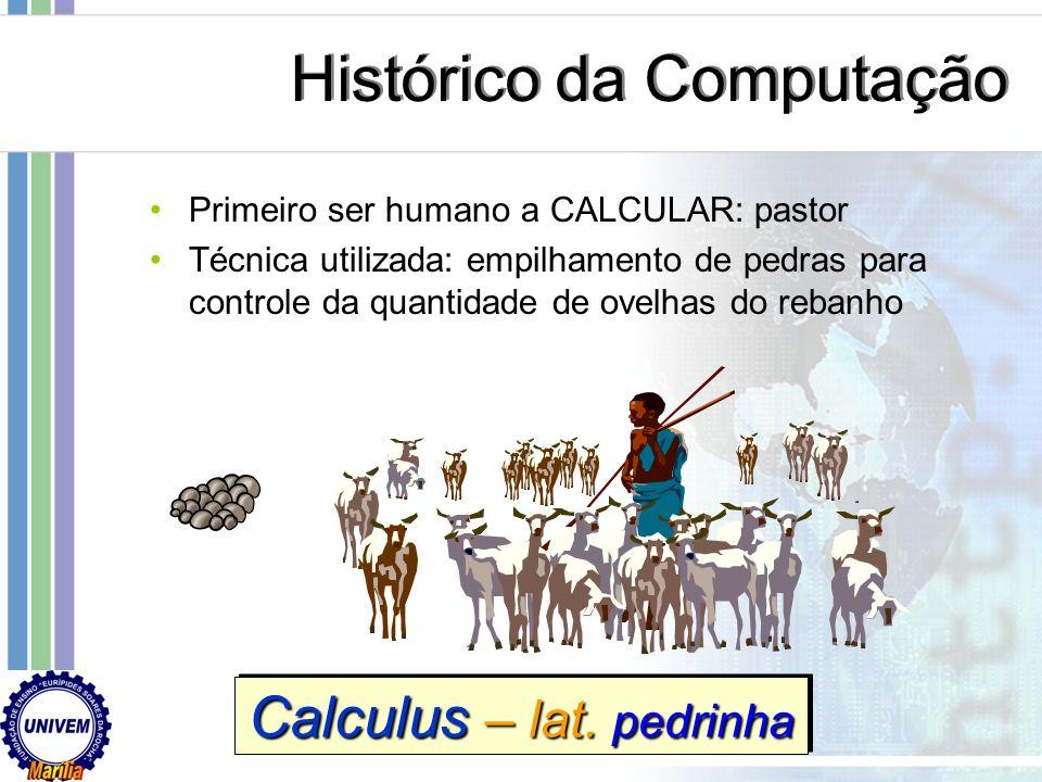 Primeiro ser humano a CALCULAR: pastor Técnica utilizada: empilhamento de pedras para controle da quantidade de ovelhas do rebanho Calculus – lat.