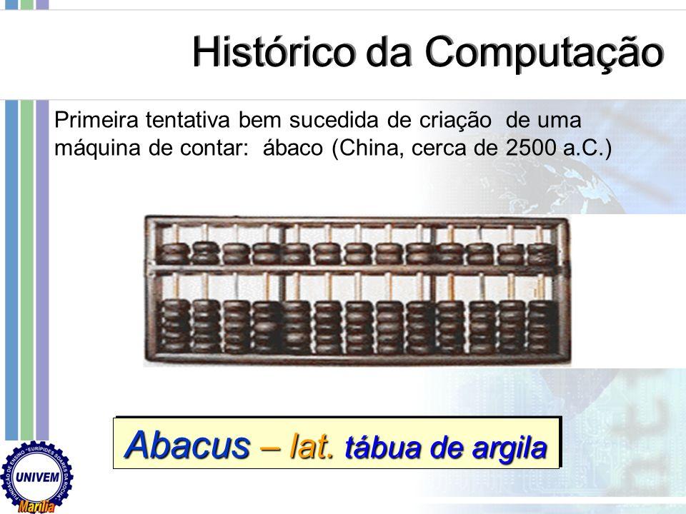Sistema de numeração egípcio Sistema de numeração romano Histórico da Computação 1000 500 100 50 10 5 5 1 1 M M D D C C L L X X V V I I 1000 500 100 5