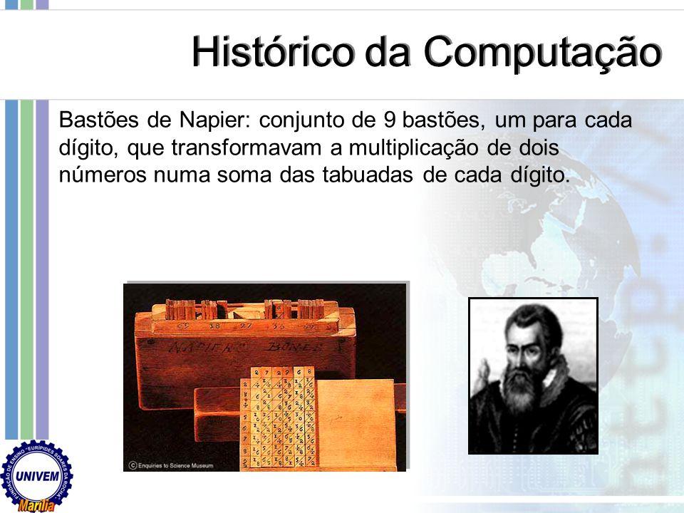 Primeira tentativa bem sucedida de criação de uma máquina de contar: ábaco (China, cerca de 2500 a.C.) Abacus – lat. tábua de argila Histórico da Comp