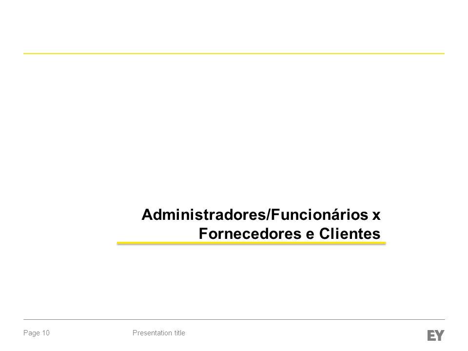 Page 10Presentation title Administradores/Funcionários x Fornecedores e Clientes