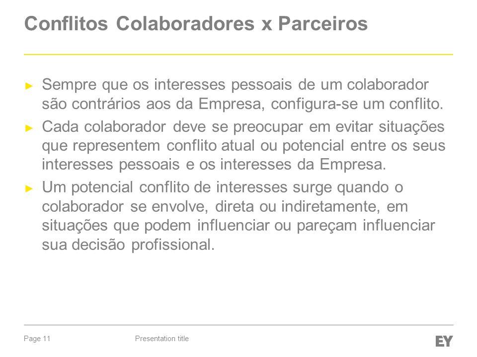 Page 11 Conflitos Colaboradores x Parceiros Sempre que os interesses pessoais de um colaborador são contrários aos da Empresa, configura-se um conflito.