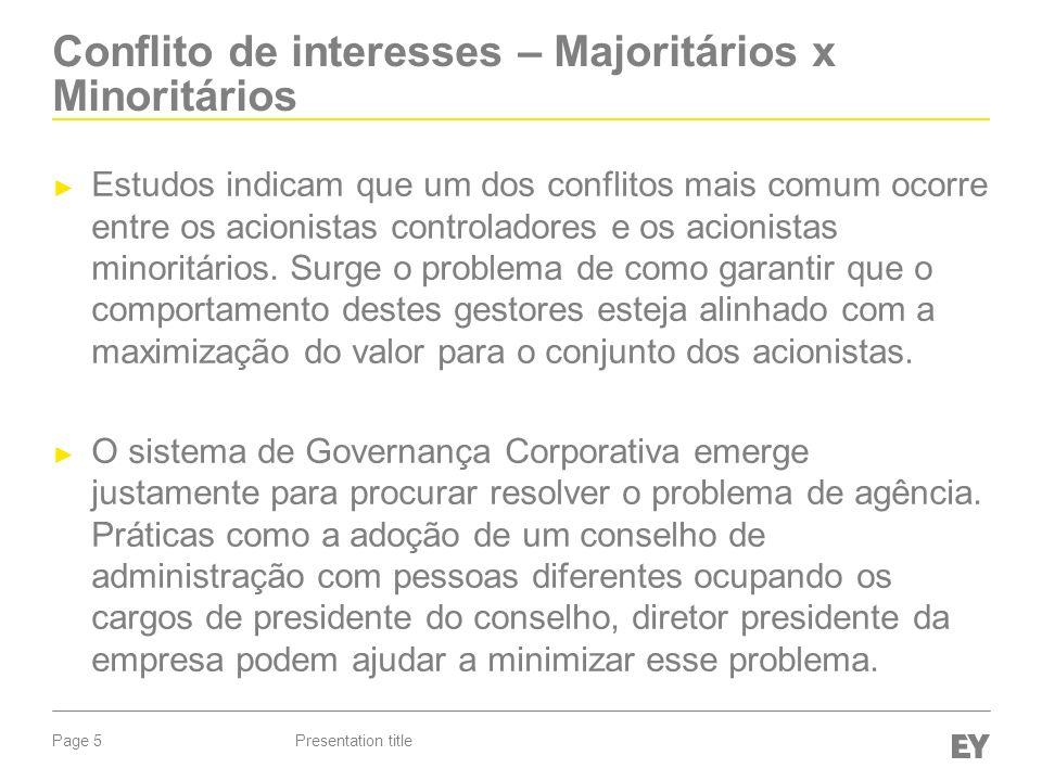 Page 5 Conflito de interesses – Majoritários x Minoritários Estudos indicam que um dos conflitos mais comum ocorre entre os acionistas controladores e os acionistas minoritários.