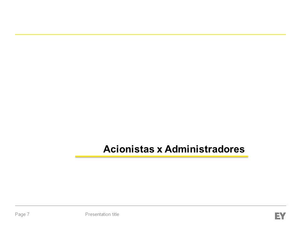 Page 7Presentation title Acionistas x Administradores