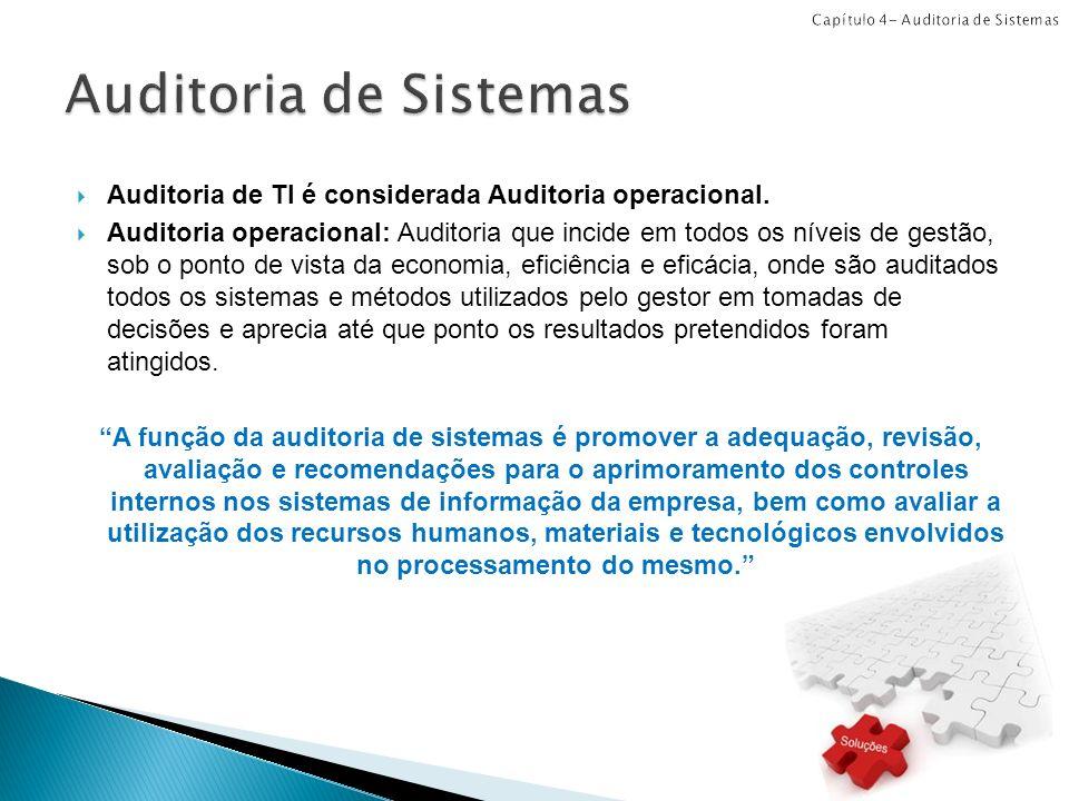 Auditoria de TI é considerada Auditoria operacional. Auditoria operacional: Auditoria que incide em todos os níveis de gestão, sob o ponto de vista da