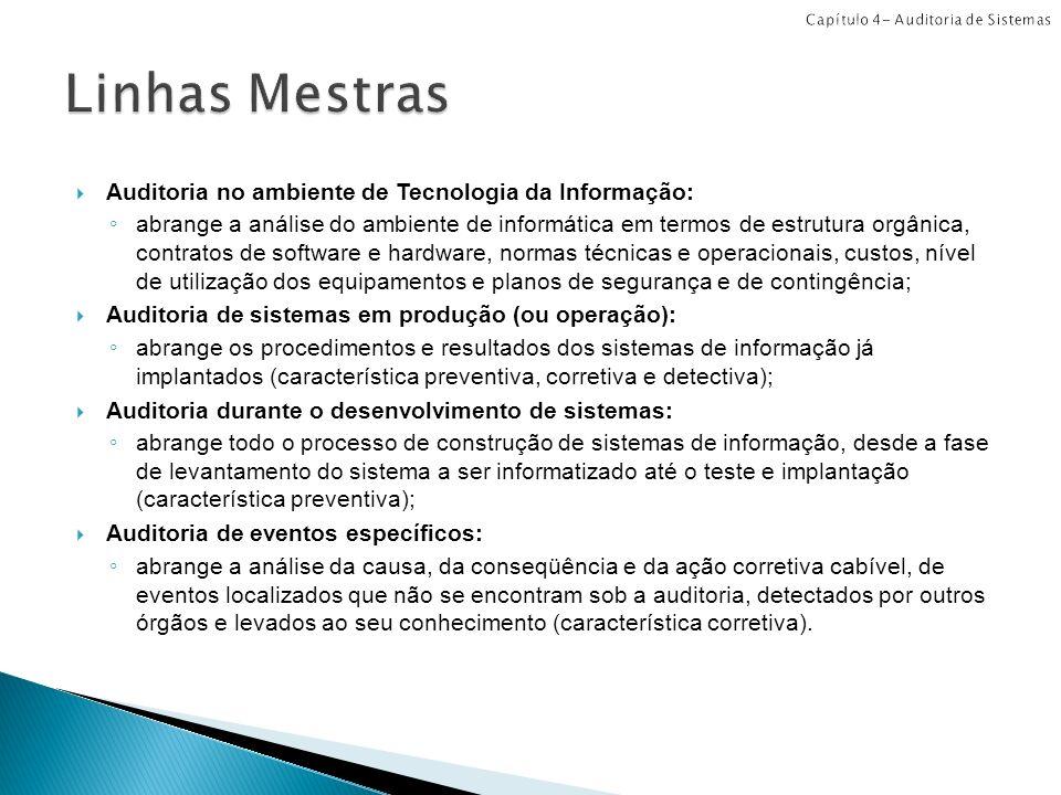 Auditoria no ambiente de Tecnologia da Informação: abrange a análise do ambiente de informática em termos de estrutura orgânica, contratos de software