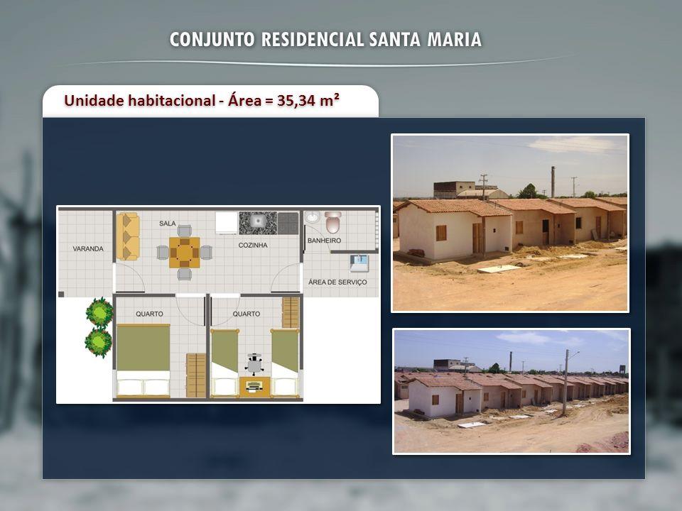 CONJUNTO RESIDENCIAL SANTA MARIA Unidade habitacional - Área = 35,34 m²