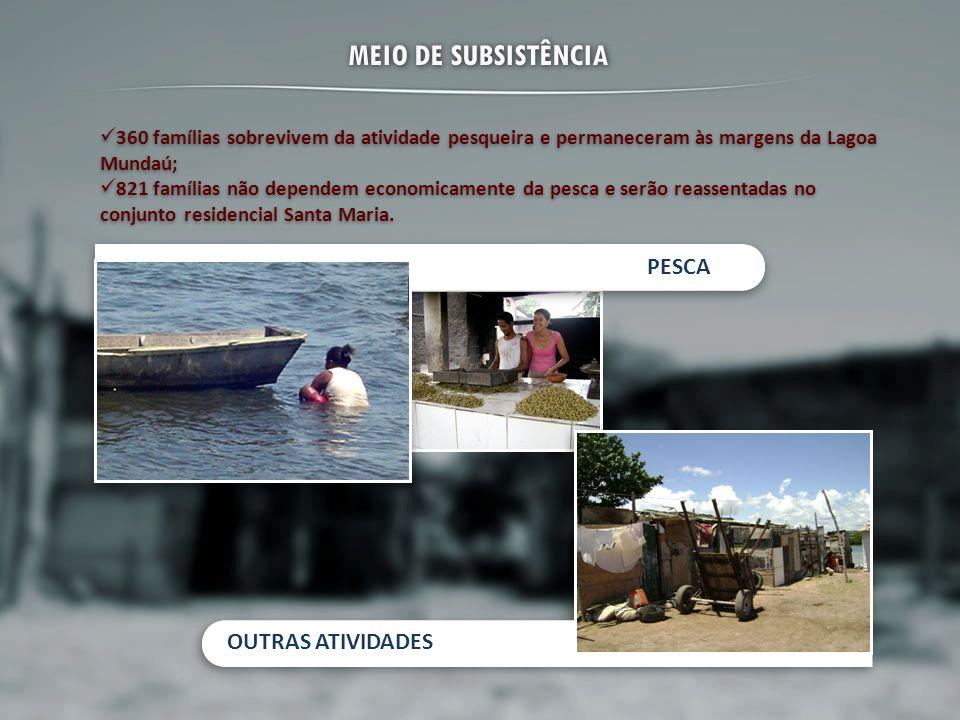 MEIO DE SUBSISTÊNCIA 360 famílias sobrevivem da atividade pesqueira e permaneceram às margens da Lagoa Mundaú; 821 famílias não dependem economicament