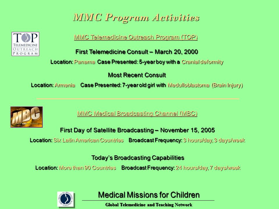 First Telemedicine Consult – March 20, 2000 Location: Panama Case Presented: 5-year boy with a Cranial deformity Medical Missions for Children Global