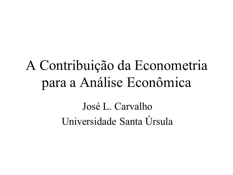A Contribuição da Econometria para a Análise Econômica José L. Carvalho Universidade Santa Úrsula