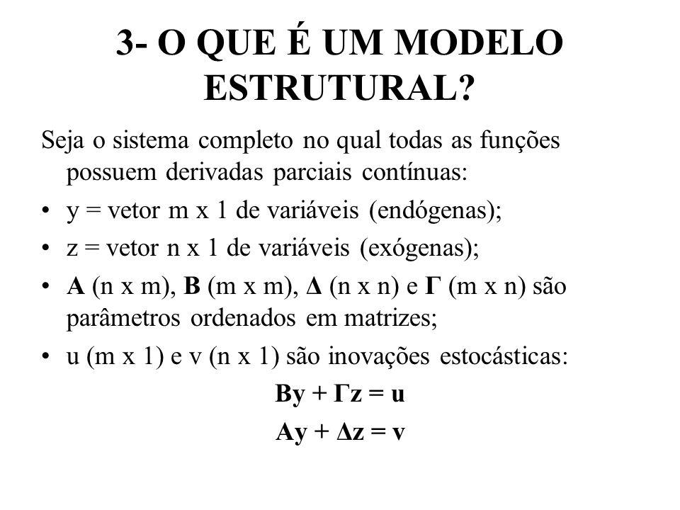 3- O QUE É UM MODELO ESTRUTURAL? Seja o sistema completo no qual todas as funções possuem derivadas parciais contínuas: y = vetor m x 1 de variáveis (