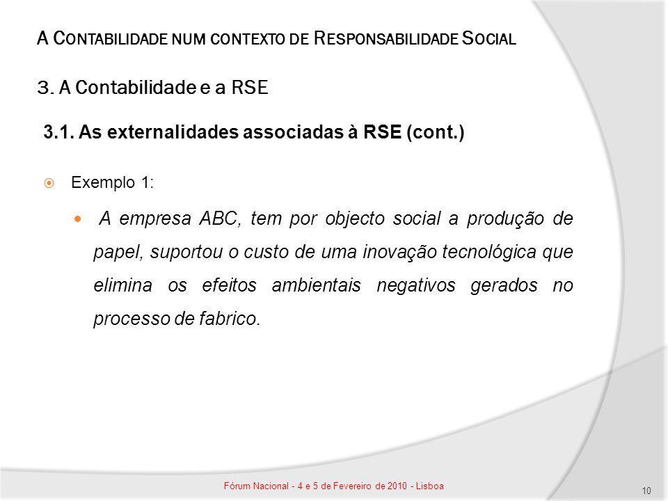 A C ONTABILIDADE NUM CONTEXTO DE R ESPONSABILIDADE S OCIAL 3. A Contabilidade e a RSE 3.1. As externalidades associadas à RSE (cont.) Exemplo 1: A emp