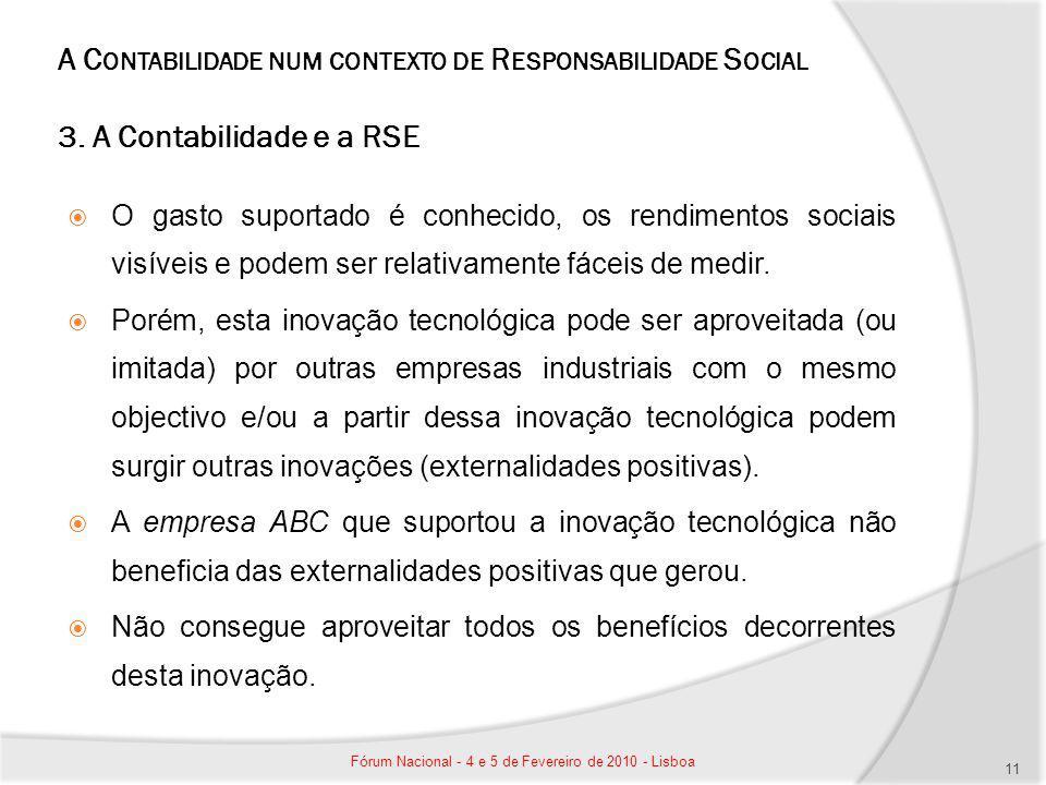 A C ONTABILIDADE NUM CONTEXTO DE R ESPONSABILIDADE S OCIAL 3. A Contabilidade e a RSE O gasto suportado é conhecido, os rendimentos sociais visíveis e