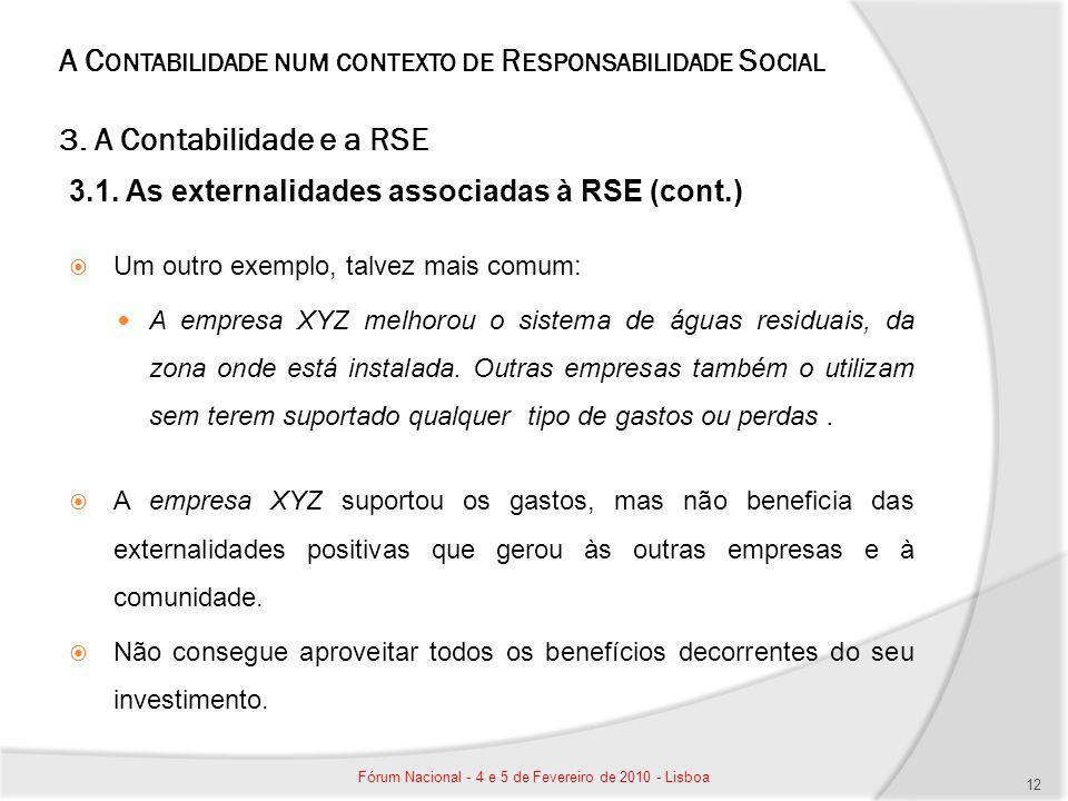 A C ONTABILIDADE NUM CONTEXTO DE R ESPONSABILIDADE S OCIAL 3. A Contabilidade e a RSE 3.1. As externalidades associadas à RSE (cont.) Um outro exemplo