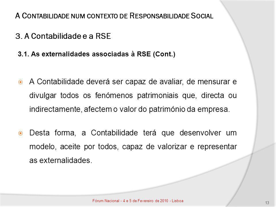 A C ONTABILIDADE NUM CONTEXTO DE R ESPONSABILIDADE S OCIAL 3. A Contabilidade e a RSE 3.1. As externalidades associadas à RSE (Cont.) A Contabilidade