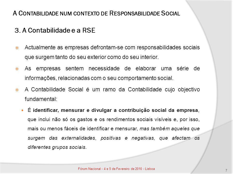 A C ONTABILIDADE NUM CONTEXTO DE R ESPONSABILIDADE S OCIAL 3. A Contabilidade e a RSE Actualmente as empresas defrontam-se com responsabilidades socia