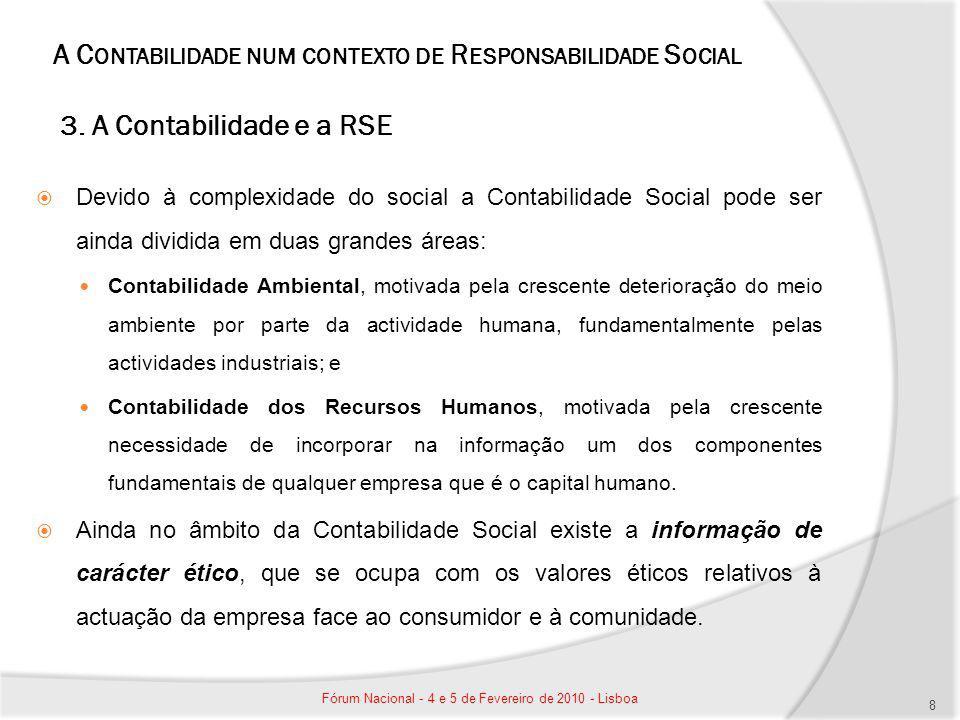 A C ONTABILIDADE NUM CONTEXTO DE R ESPONSABILIDADE S OCIAL 3. A Contabilidade e a RSE Devido à complexidade do social a Contabilidade Social pode ser