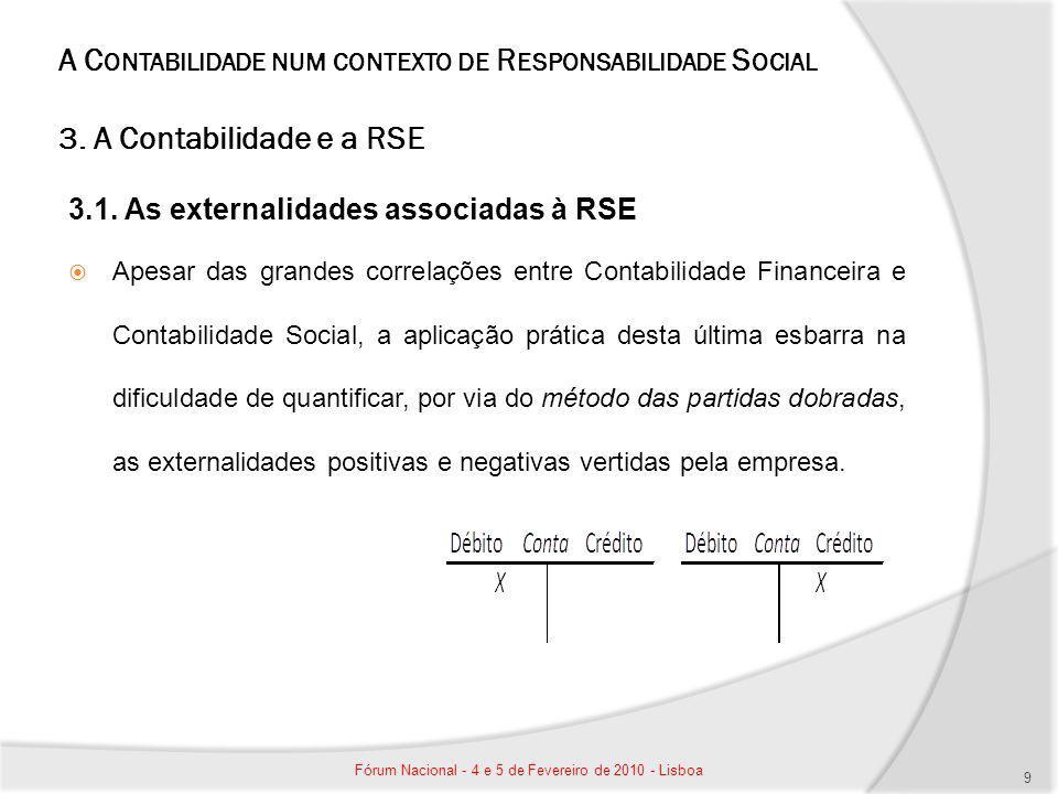 A C ONTABILIDADE NUM CONTEXTO DE R ESPONSABILIDADE S OCIAL 3. A Contabilidade e a RSE 3.1. As externalidades associadas à RSE Apesar das grandes corre