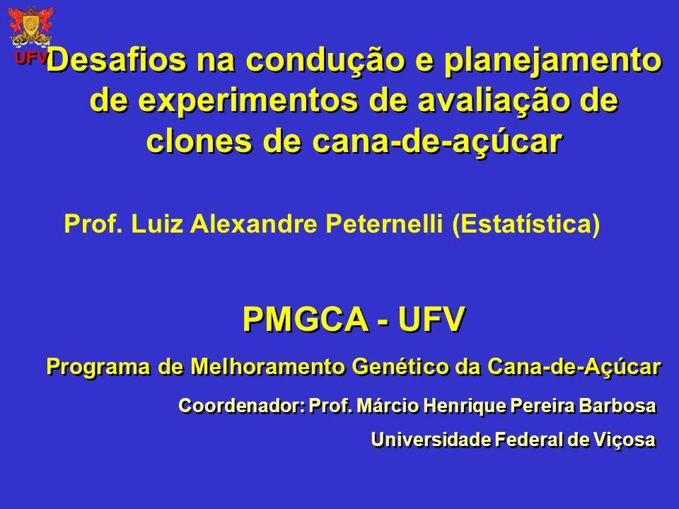 Desafios na condução e planejamento de experimentos de avaliação de clones de cana-de-açúcar Coordenador: Prof. Márcio Henrique Pereira Barbosa Univer