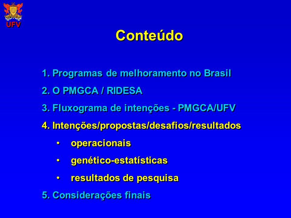 Conteúdo UFV 1. Programas de melhoramento no Brasil 2. O PMGCA / RIDESA 3. Fluxograma de intenções - PMGCA/UFV 4. Intenções/propostas/desafios/resulta