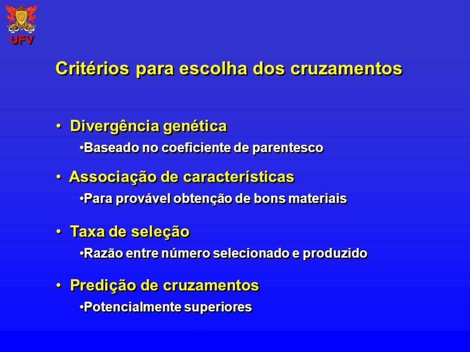 Divergência genética Baseado no coeficiente de parentesco Divergência genética Baseado no coeficiente de parentesco Critérios para escolha dos cruzame