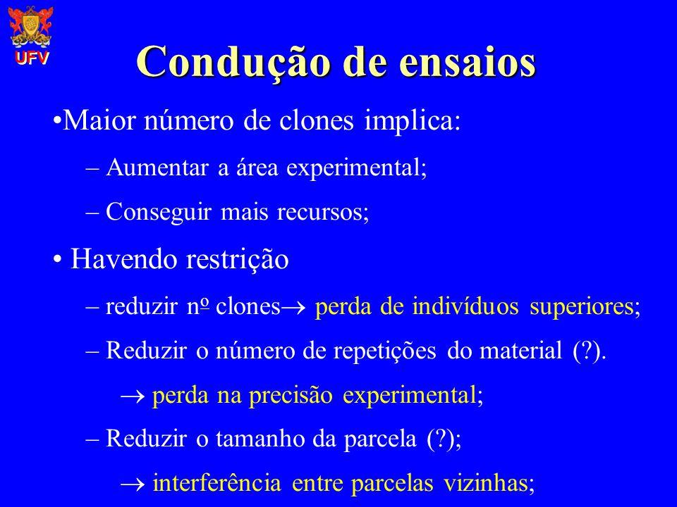 Condução de ensaios Maior número de clones implica: – Aumentar a área experimental; – Conseguir mais recursos; Havendo restrição – reduzir n o clones