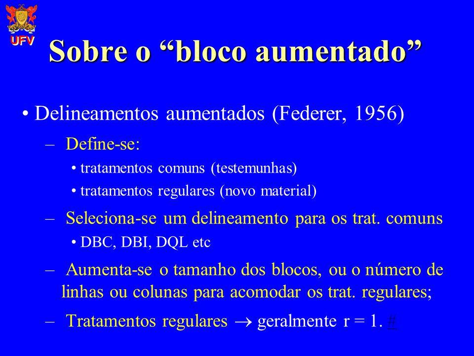 Sobre o bloco aumentado Delineamentos aumentados (Federer, 1956) – Define-se: tratamentos comuns (testemunhas) tratamentos regulares (novo material) –