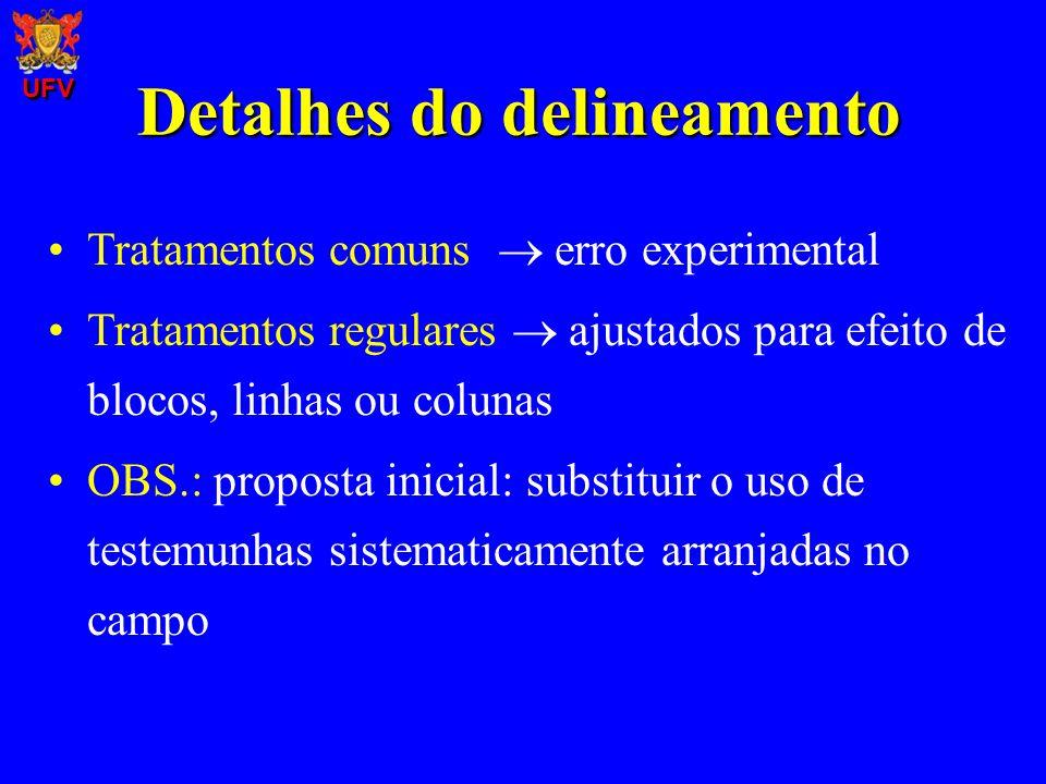 Detalhes do delineamento Tratamentos comuns erro experimental Tratamentos regulares ajustados para efeito de blocos, linhas ou colunas OBS.: proposta