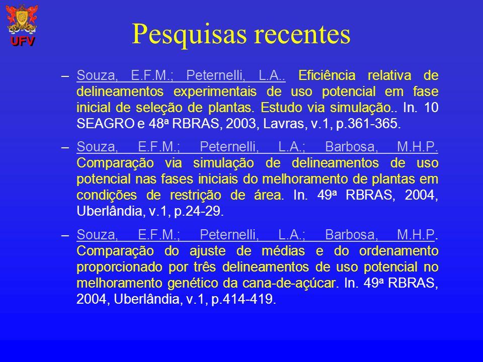 Pesquisas recentes –Souza, E.F.M.; Peternelli, L.A.. Eficiência relativa de delineamentos experimentais de uso potencial em fase inicial de seleção de