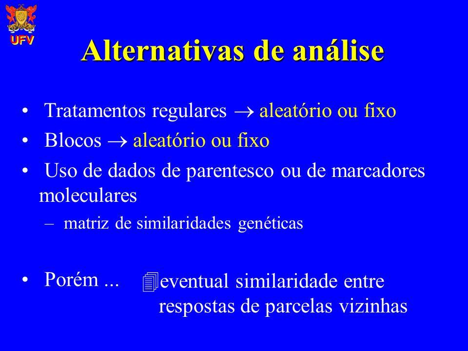 Alternativas de análise Uso de dados de parentesco ou de marcadores moleculares – matriz de similaridades genéticas Tratamentos regulares aleatório ou