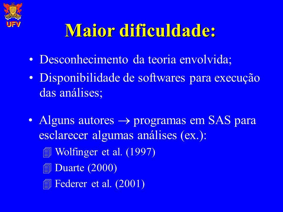 Maior dificuldade: Desconhecimento da teoria envolvida; Disponibilidade de softwares para execução das análises; Alguns autores programas em SAS para