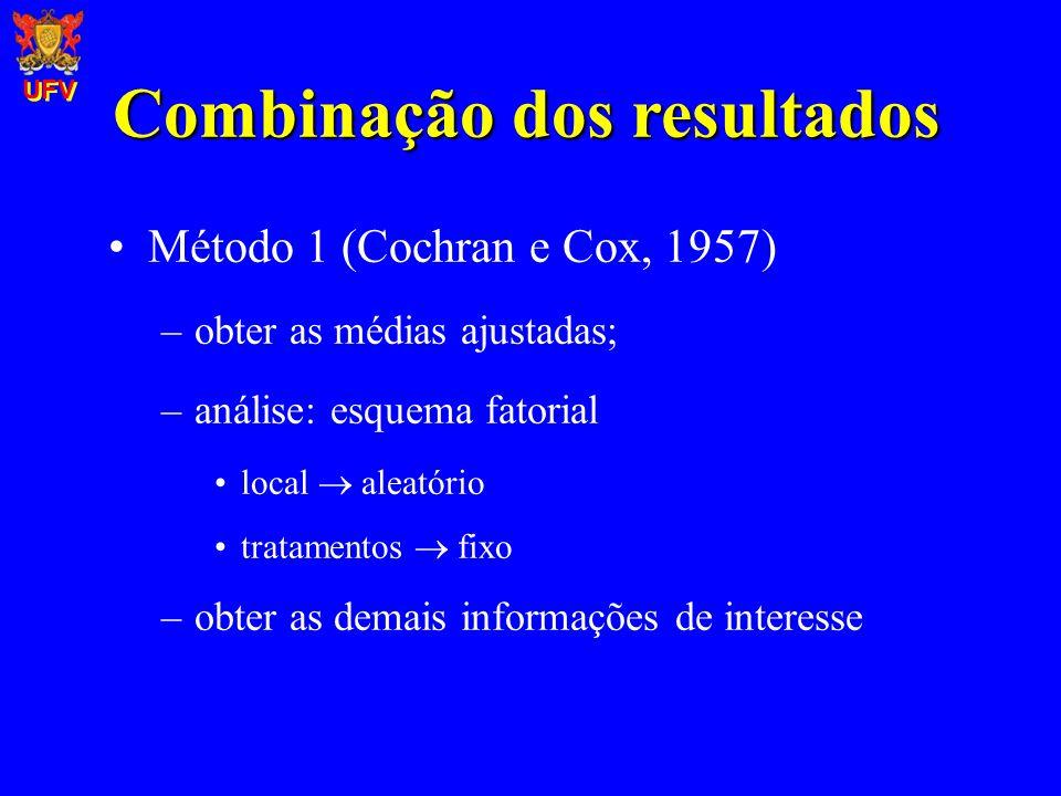 Combinação dos resultados Método 1 (Cochran e Cox, 1957) –obter as médias ajustadas; –análise: esquema fatorial local aleatório tratamentos fixo –obte