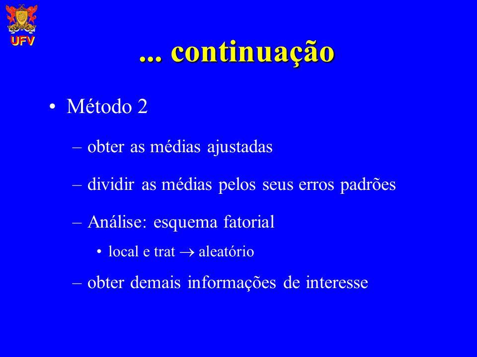 ... continuação Método 2 –obter as médias ajustadas –dividir as médias pelos seus erros padrões –Análise: esquema fatorial local e trat aleatório –obt
