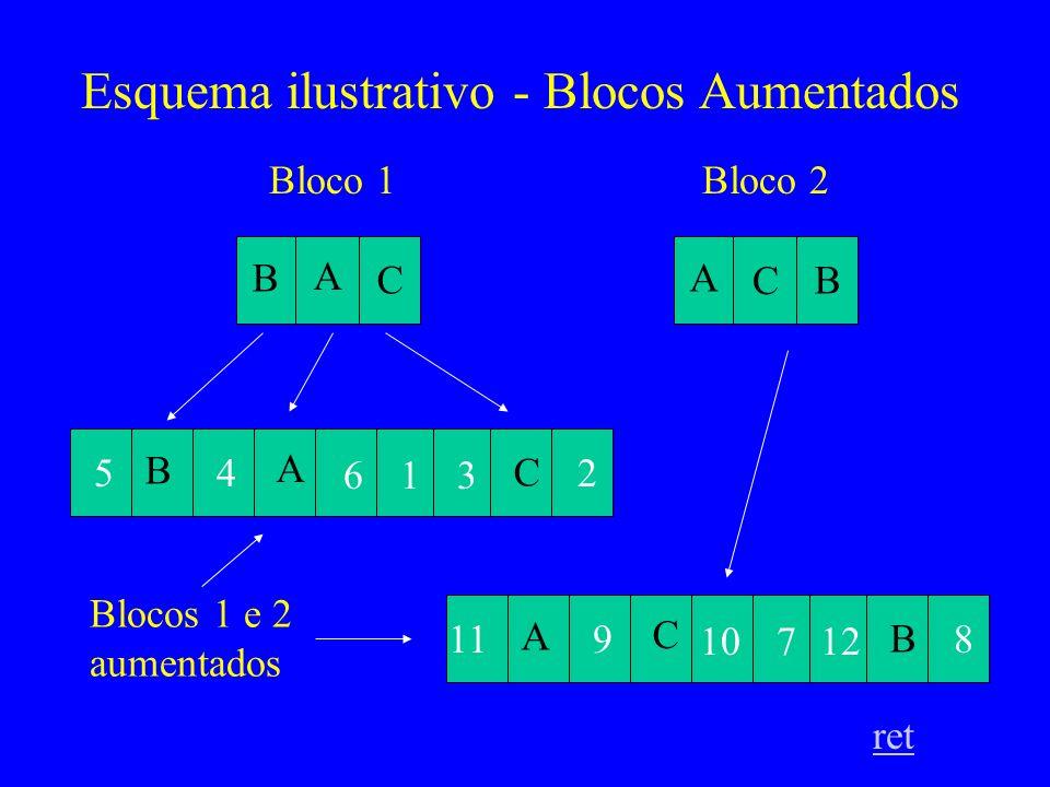 Esquema ilustrativo - Blocos Aumentados ret B A C A B C Bloco 1Bloco 2 B A C 54 361 2 A C B 119 12107 8 Blocos 1 e 2 aumentados