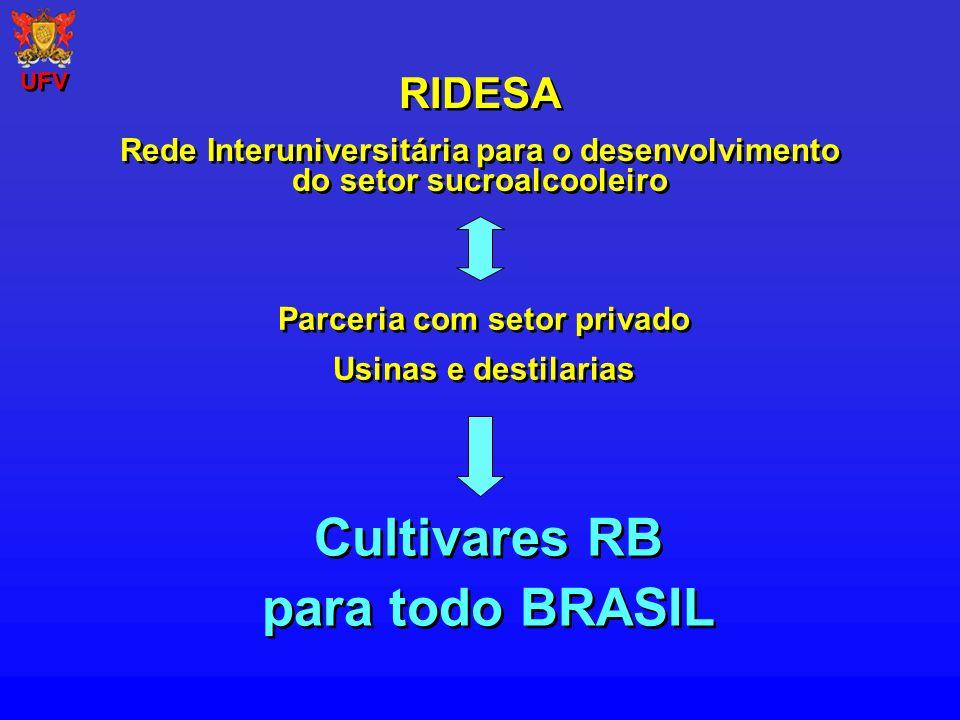 Evolução da porcentagem da área total dos cultivares RB, SP e Introduzidos, nos Estados da região Centro Sul.
