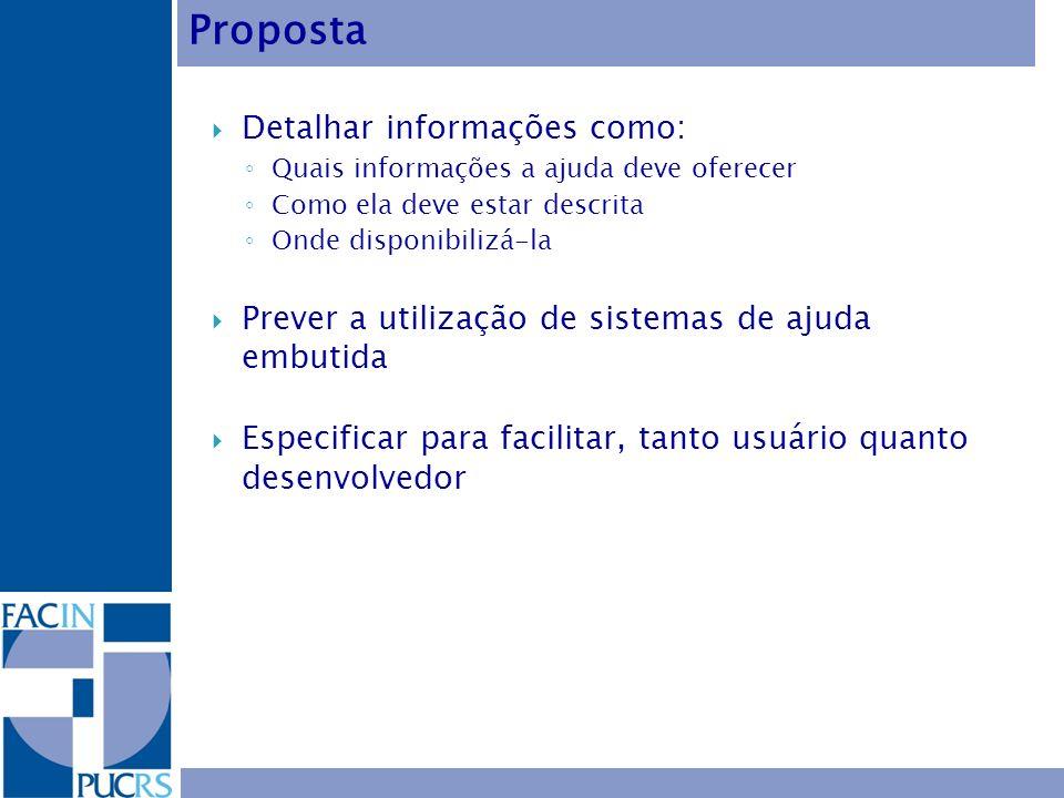 Detalhar informações como: Quais informações a ajuda deve oferecer Como ela deve estar descrita Onde disponibilizá-la Prever a utilização de sistemas