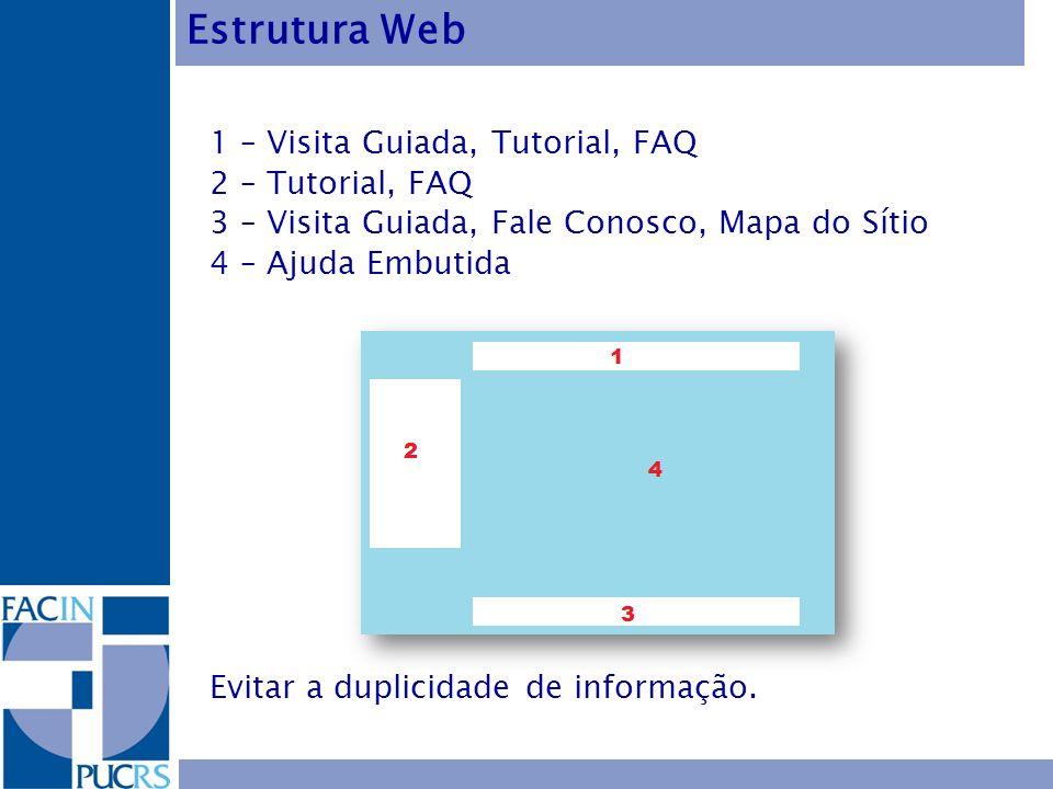 1 – Visita Guiada, Tutorial, FAQ 2 – Tutorial, FAQ 3 – Visita Guiada, Fale Conosco, Mapa do Sítio 4 – Ajuda Embutida Evitar a duplicidade de informaçã