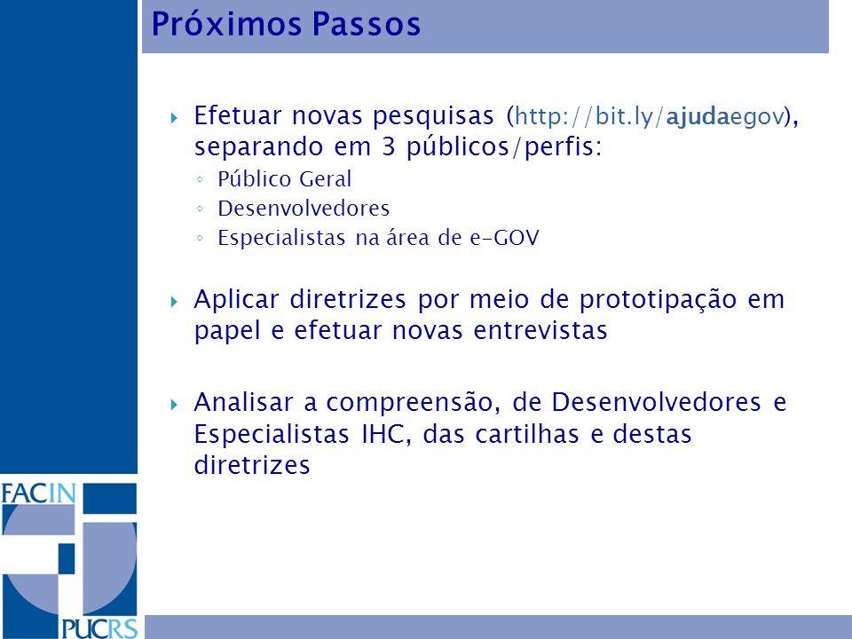 Efetuar novas pesquisas ( http://bit.ly/ajudaegov), separando em 3 públicos/perfis: Público Geral Desenvolvedores Especialistas na área de e-GOV Aplic