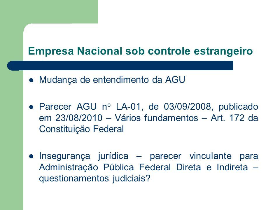 Empresa Nacional sob controle estrangeiro Mudança de entendimento da AGU Parecer AGU n o LA-01, de 03/09/2008, publicado em 23/08/2010 – Vários fundam