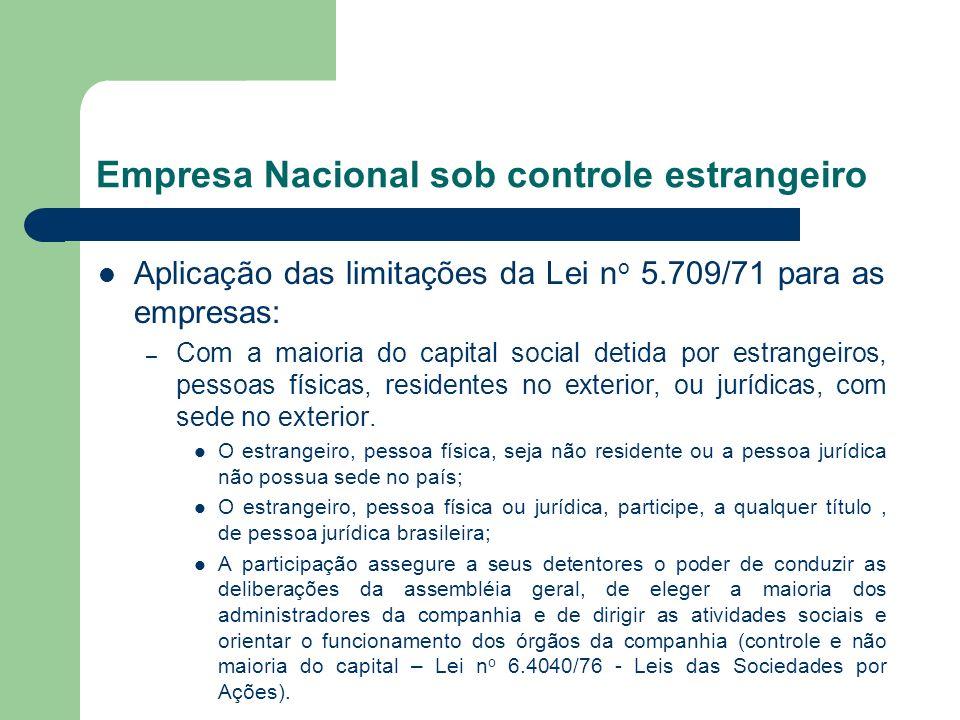 Empresa Nacional sob controle estrangeiro Aplicação das limitações da Lei n o 5.709/71 para as empresas: – Com a maioria do capital social detida por