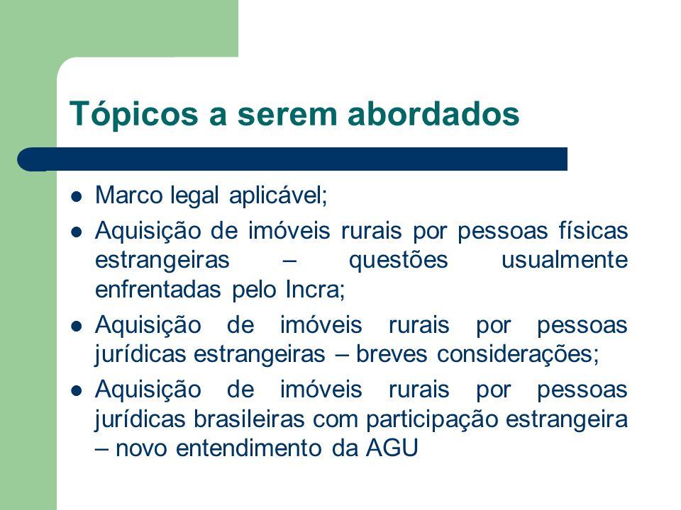 Tópicos a serem abordados Marco legal aplicável; Aquisição de imóveis rurais por pessoas físicas estrangeiras – questões usualmente enfrentadas pelo I